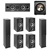 Elac Debut 2.0-7.1 System with 2 F5.2 Floorstanding Speakers, 1 C5.2 Center Speaker, 4 B5.2 Bookshelf Speakers, 1 BIC/Acoustech Platinum Series PL-200 Subwoofer