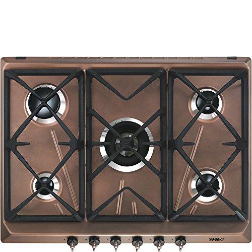 SMEG SRV876RAGH Piano Cottura Rame Incasso Gas, 2600 W, Steel