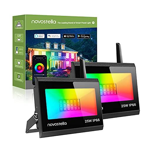 Novostella Upgrade Smart RGB Strahler 25W 2er Set, Blaze LED Strahler Kompatibel mit Alexa Google Home Flutlich mit 16 Mio. Farben IP66 Wasserdicht Gartenbeleuchtung für Außen Innen Party Hochzeit