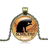 Y-XM Suéter de joyería Retro Piedras Preciosas Conjunto de la Cadena A de 2 de Halloween Negro Gato Collar Cristal