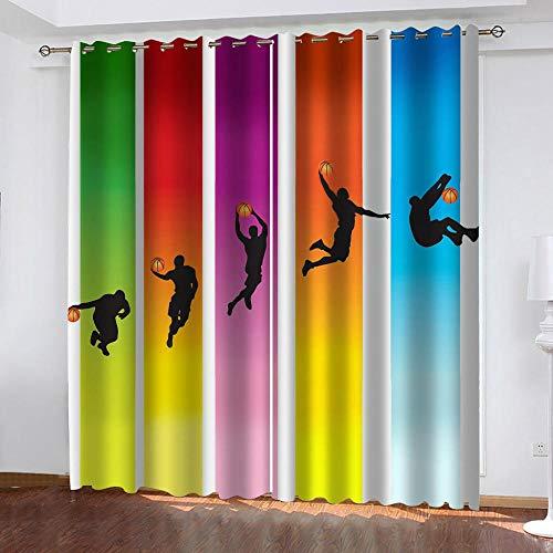 GuoDamei 2 Paneles Cortinas Opacas 3D Impresión Cortinas Aislantes Termicas Opaca con Ojales, para Salón, Habitación y Dormitorio Cortinas 117x183 cm, Baloncesto de Color