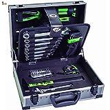 BricoLoco Maletín caja herramientas completo. Kit surtido básico bricolaje hogar. Set organizador. Maleta con herramientas de mano, medición, brocas…