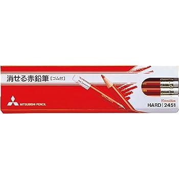 三菱鉛筆 消せる赤鉛筆 2451 ゴム付き 1ダース K2451