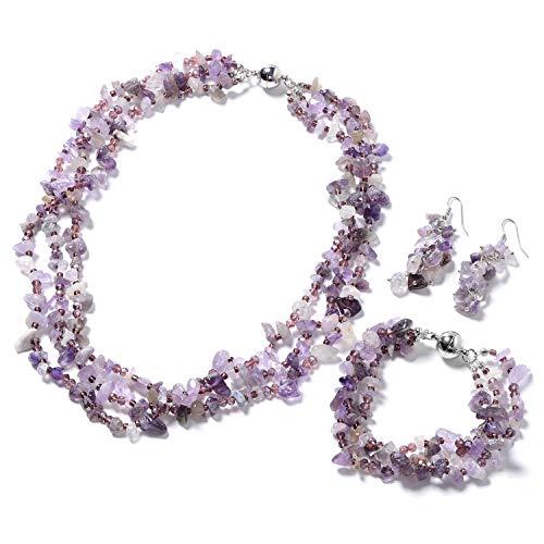 Handmade Multi Strand Beaded Silvertone Bracelet 8' Earrings Necklace 20' Fashion Jewelry for Women Mothers Day Gifts