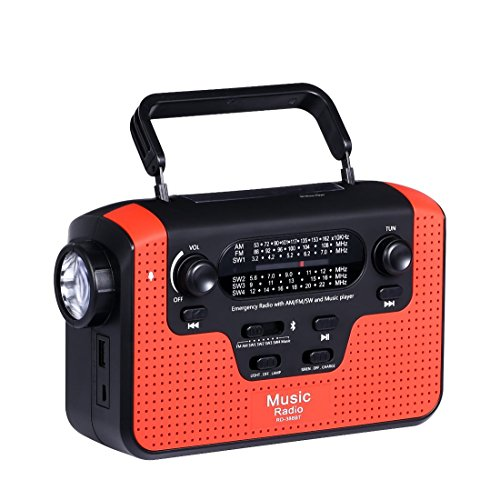 Solar Hand Crank Emergency AM/FM/SW Radio, Bluetooth TF Card Speakers with Lights, LED Flashlight and Reading Camping Lamp, Battery Radio Portable and 2300mAh Power Bank Cell Phone Charger (red)