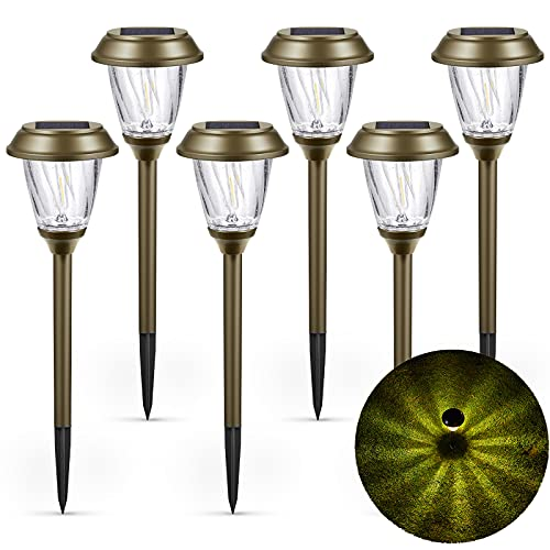 XMCOSY+ Solar Path Lights Outdoor 6 Pack, 10-25LM, Bubble Glass Lampshade & Stainless Steel, Auto on/Off, Waterproof Solar Powered LED Pathway Lights for Landscape Garden (Warm White)