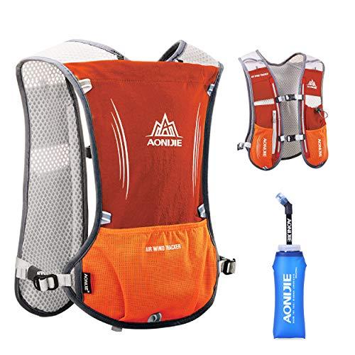 TRIWONDER Hydration Pack Rucksack 5L Marathoner Laufrennen Trinkweste (Orange - mit einem weichen Wasserflaschen)