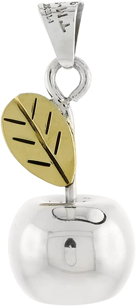 Sterling Max 68% OFF Silver Hollow Apple and Gold-Tone Chime Popular shop is the lowest price challenge 1 Leaf Pendant