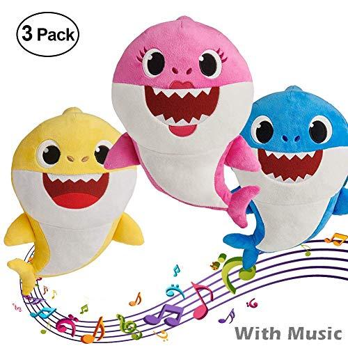 yuailiur Baby Shark Canto y Luz Juguetes de Peluche Muñeca de Felpa Suave de Tiburón Regalos y Juguetes para Niños Bebé de Dibujos Animados de Tiburón de Peluche de Juguete con 3 Colores (3 Pack)