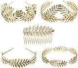 Diadema de boda, Danolt 5 piezas Diosa Estilo griego Corona Diadema Peineta para el cabello con hojas de laurel doradas para accesorios para el cabello.