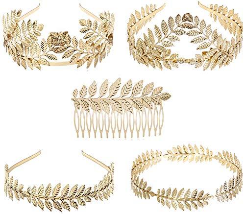 Goldenes Haarband, Danolt 5 Stücke Göttin Griechischen Stil Crown Haarband Haarkamm mit Gold Lorbeerblätter für Brautdusche Hochzeit Haarschmuck.