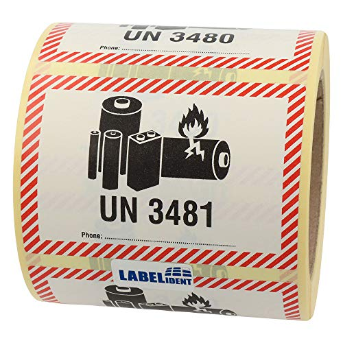 Labelident Transportaufkleber - enthält Lithium Ionen Batterien UN 3481-100 x 70 mm - 500 Batterie Aufkleber auf 76 mm (3 Zoll) Rolle, Akku Etiketten