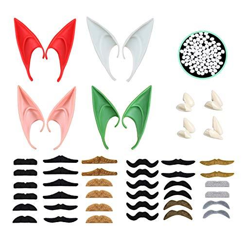 4 pares de orejas de elfo de látex en diferentes estilos y 4 pares de dientes de vampiro y 36 barbas falsas y barbas autoadhesivas, accesorios de fiesta de Halloween