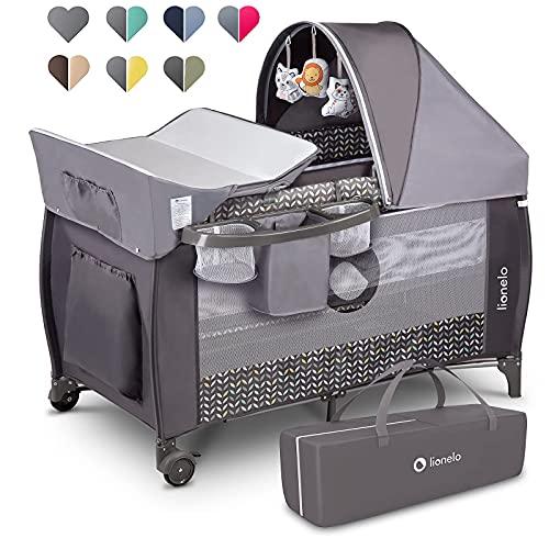 Lionelo Sven Plus 2in1 Reisebett Baby Laufstall Baby ab Geburt bis 15kg, Moskitonetz, Tragetasche, zusammenklappbar (Grey Scandi) - 4