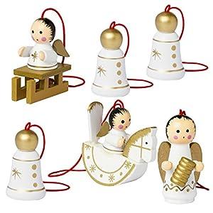 BRUBAKER 6er Set Christbaum Anhänger Engel und Weihnachtsglocken – Natürlicher Holz-Baumschmuck handbemalt für den Weihnachtsbaum – Exclusiv Design made in Germany