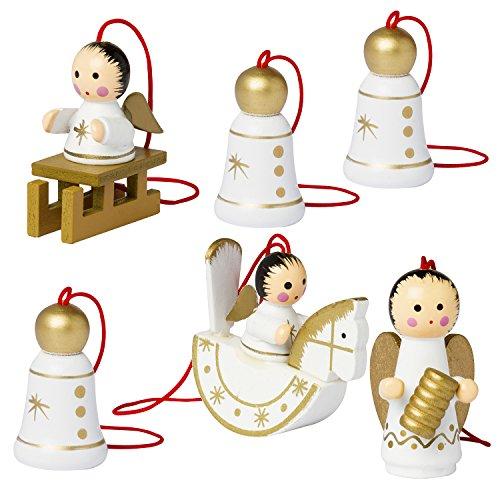 Brubaker 6er Set Christbaum Anhänger Engel und Weihnachtsglocken - Natürlicher Holz-Baumschmuck handbemalt für den Weihnachtsbaum Made in Germany