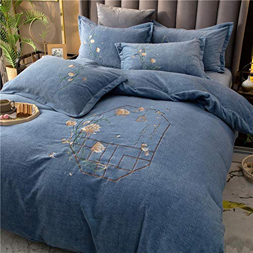 Shinon duvet cover double cotton 100%,Set of winter double-sided fleece thick bed sheet flannel duvet cover student dormitory bed sheet duvet cover pillowcase A_1.8m bed (4 pieces)