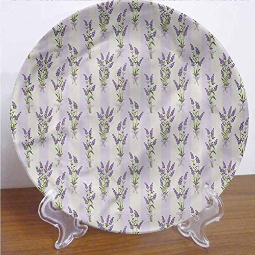 Channing Southey 8 Inch Lavender Ceramic Dinner Plate Stripes and Flowers Round Porcelain Ceramic Plate Microwave & Dishwasher Safe Decor Accessory for Party Kitchen Home Decor