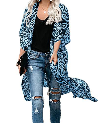 Kimono Cardigan Mujer Largo Verano Ropa de Playa Pareos Manga Corta Retro Impreso Blusa Tunica Vestido de Playa Cover Up (Talla única, Azul)
