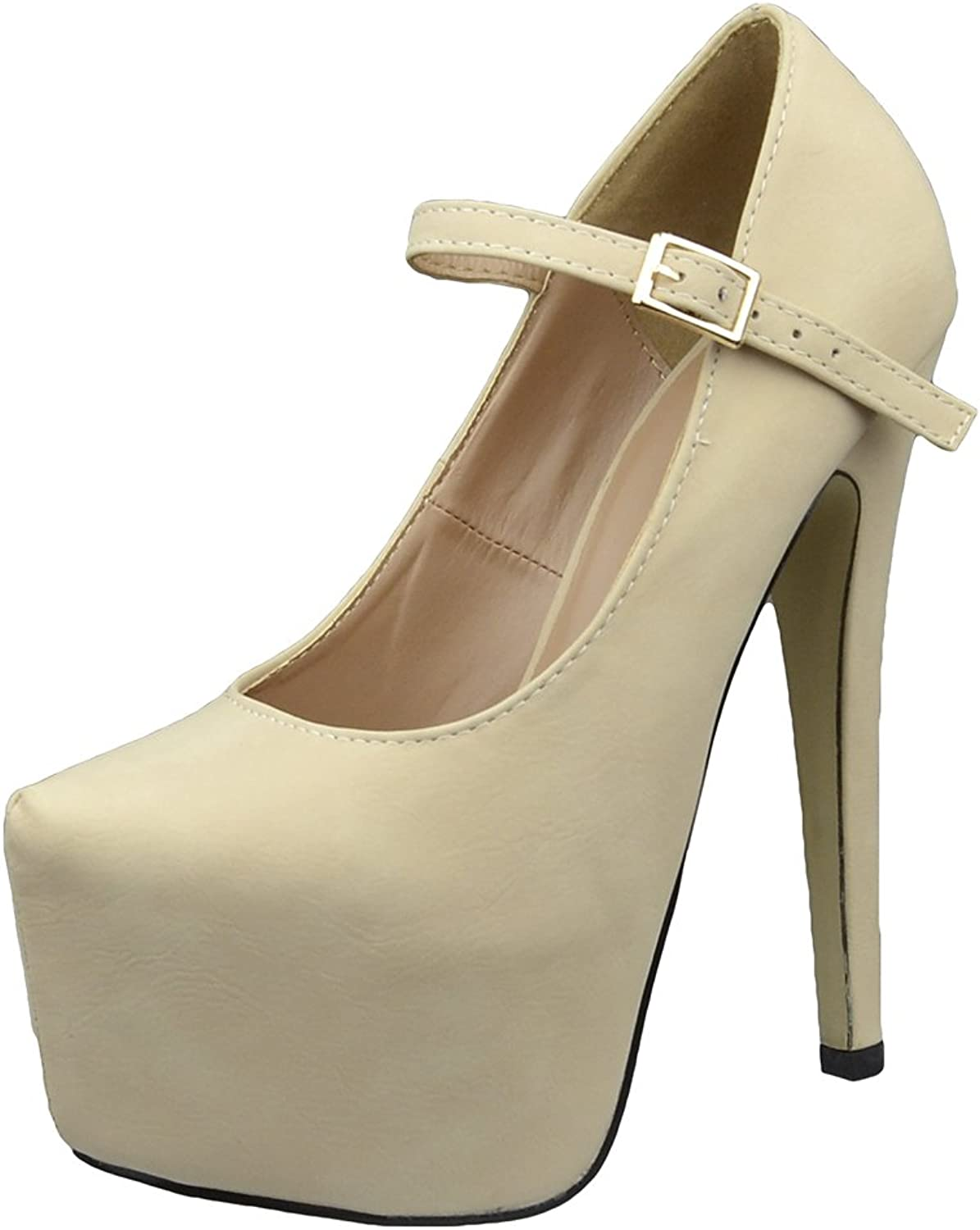 DS By KSC Womens Platform shoes Ankle Strap Closed Toe Stiletto Pumps Nude