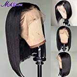 Maxine Bob Wig Lace Front Human Hair Wigs Straight Lace Front Wig for Black Women with Baby Hair 130% Density (8inch)