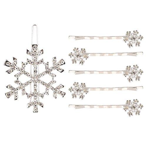 TOOGOO Accessoire de cheveux faux diamant Flocon de neige epingle a cheveux clip a cheveux (5pcs epingle a cheveux + 1pc Barrette Blanche)