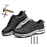 GPFSHOES 2019 Zapatos de Seguridad de la Moda de la Punta de Acero Zapato de Trabajo para los Hombres de Malla Ligera Transpirable Noche Reflectante Casual Zapatillas, negro, 37EU