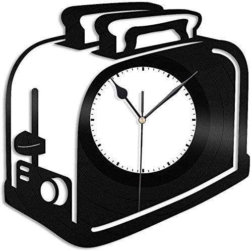 Reloj de Pared con Registro, tostadora, Reloj de Pared de Vinilo, decoración del hogar, Registro, decoración de guardería Familiar, 30 × 30 cm