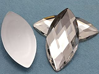 62x30mm Crystal H102 Flat Back Navette Acrylic Jewels High Quality Pro Grade - 2 Pieces