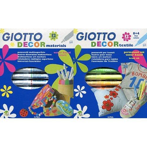Giotto - Pack 12 rotuladores decorativos multisuperficie + 12 rotuladores decorativos para tejidos