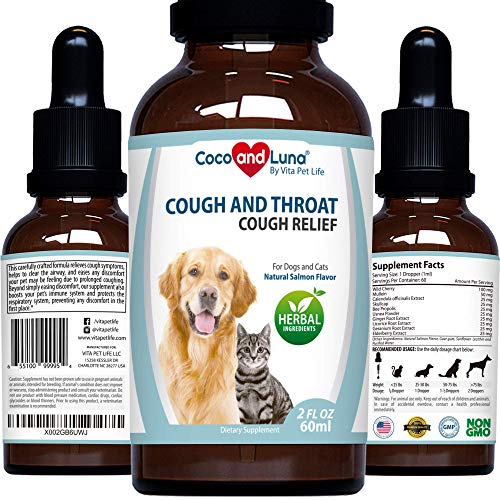 Cough Relief for Dogs and Cats – Throat and Respiratory Support, Help with Dry and Wet Pet Cough - with Calendula and Elderberry – 2oz (60ml)
