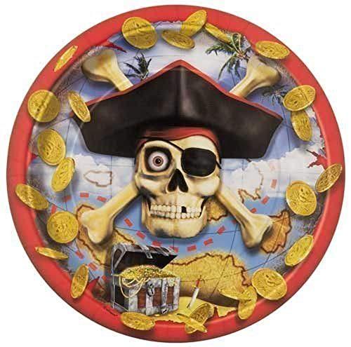 Platos de fiesta infantil pirata, 8 ud.