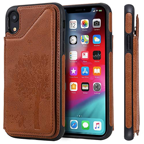 SEEYA Funda tipo cartera con ranuras para tarjetas para iPhone XR, funda con tapa para tarjeta de crédito, función atril, piel sintética marrón, a prueba de golpes, para iPhone XR de 6.1 pulgadas