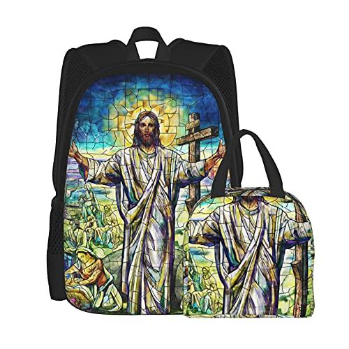 Ind_Ian Fea_Ther Bea_Uty - Juego de mochila para ordenador portátil, mochila de hombro para estudiantes con bolsa de almuerzo (2 piezas)