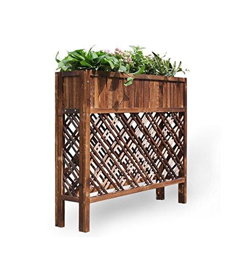 Yxsd Cloison extérieure Fleur Grille Bois Fleur boîte Bois Massif Pot de Fleurs écran écran café Restaurant Fleur Creux (100 * 90 * 25cm)