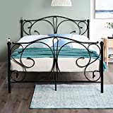 Home Treats Crystal Black Metal Bed Frame Bedroom Furniture Ideal for Kids, Teenagers and Adults (4ft 6 Double, No Mattress)