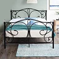 Home Treats Crystal Black Metal Bed Frame Bedroom Furniture Ideal for Kids, Teenagers and Adults (4f...