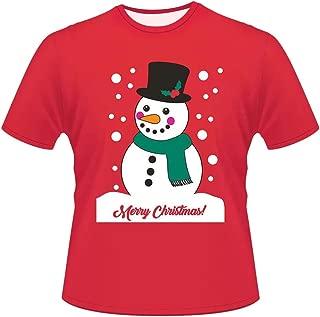 LODDD Christmas Mens Womens Cute Printing Shirt Casual Short Sleeve Round Neck Loose T Shirt Blouse