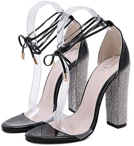 GHFJDO Chaussures pour Femmes Sparkling Glitter Heel Strass Block Sandales à Talons, Chaussures d'été à Bout Ouvert, Bride à la Cheville, Chaussures de Mariage,noir,38EU