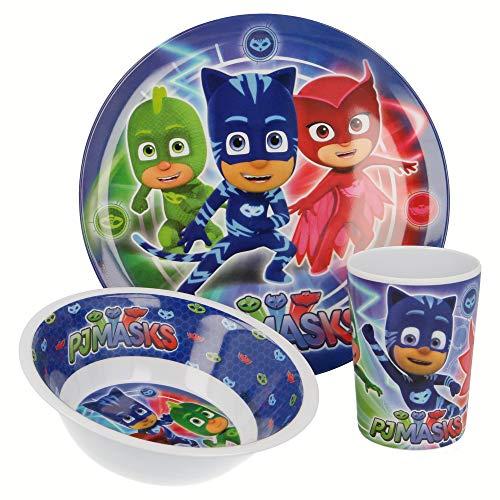 PJ Masks | | Set Vajilla de Melamina Infantil - Resistente I Servicio de Mesa Libre de BPA para niños y bebés - 3 Piezas: Vaso de Beber, Plato y Cuenco