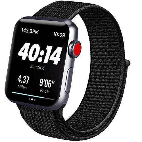 ATUP コンパチブル Apple Watch バンド 42mm 38mm 44mm 40mm、ナイロンスポーツループバンド、交換用ナイロン アップルウォッチリストバンド iWatch Series 5/4/3/2/1ベルトに対応 (01 ブラック, 42mm/44mm)