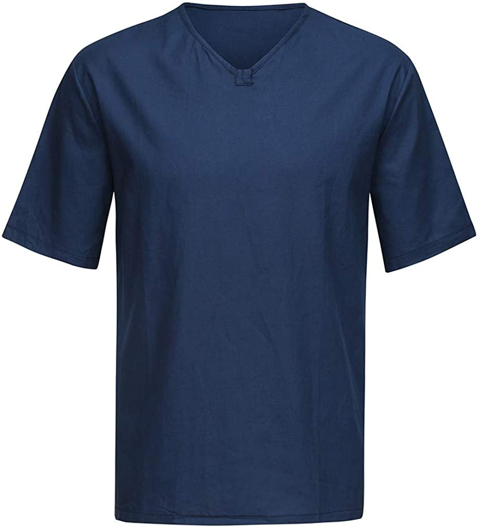 Maryia Mens Cotton Linen Shirt Casual Summer Short Sleeve Moisture Wicking Quick Dry Workout Training Athletic Pullover