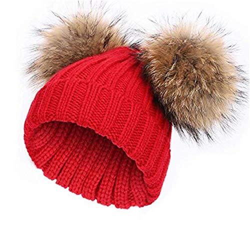 feifanshop Damen Echtfell Waschbär Fell Pelz Bommel Strick Mütze Winter-Mütze Bommelmütze (rot)