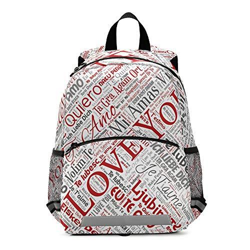 RELEESSS I Love You Mochila para niños con correa en el pecho, mochila escolar para preescolar, mochila para niños y niñas