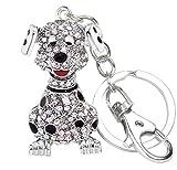 Quadiva ciondolo da borsa cane, da donna - Bag Charm Dog model 05 - (colore: Argento/Bianco), decorato con cristalli