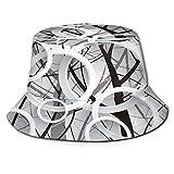 Sombrero de Pesca,Cortina de Ventana 3D en Blanco y Negro,Senderismo para Hombres y Mujeres al Aire Libre Sombrero de Cubo Sombrero para el Sol
