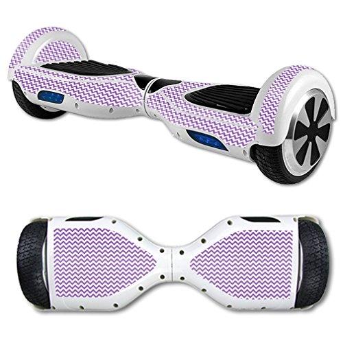 MightySkins Skin Compatible with Hover Board Self Balancing Scooter Mini 2 Wheel x1 Razor wrap Cover Sticker Lavender Chevron
