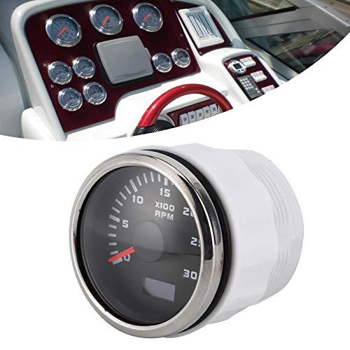 Medidor de tacómetro de 2 pulgadas y 3000 RPM, tacómetro de pantalla LCD con medidor de horas IP67 a prueba de agua para automóviles, motocicletas, maquinaria de ingeniería, motor fuera de borda