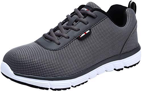 Zapatillas de Seguridad Hombre,LM170130 S1 SRC Zapatos de Trabajo Mujer con Punta de Acero Ultra Liviano Reflectivo Transpirable 46 EU,Gris Claro