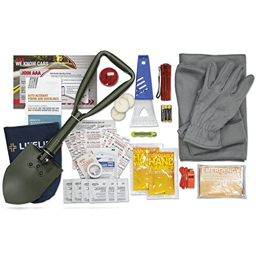 Lifeline AAA Severe Weather Emergency Road Safety Kit - 66 Pieces - Featuring Emergency Folding Shovel, Fleece Set, Fire Starter, Flashlight and More